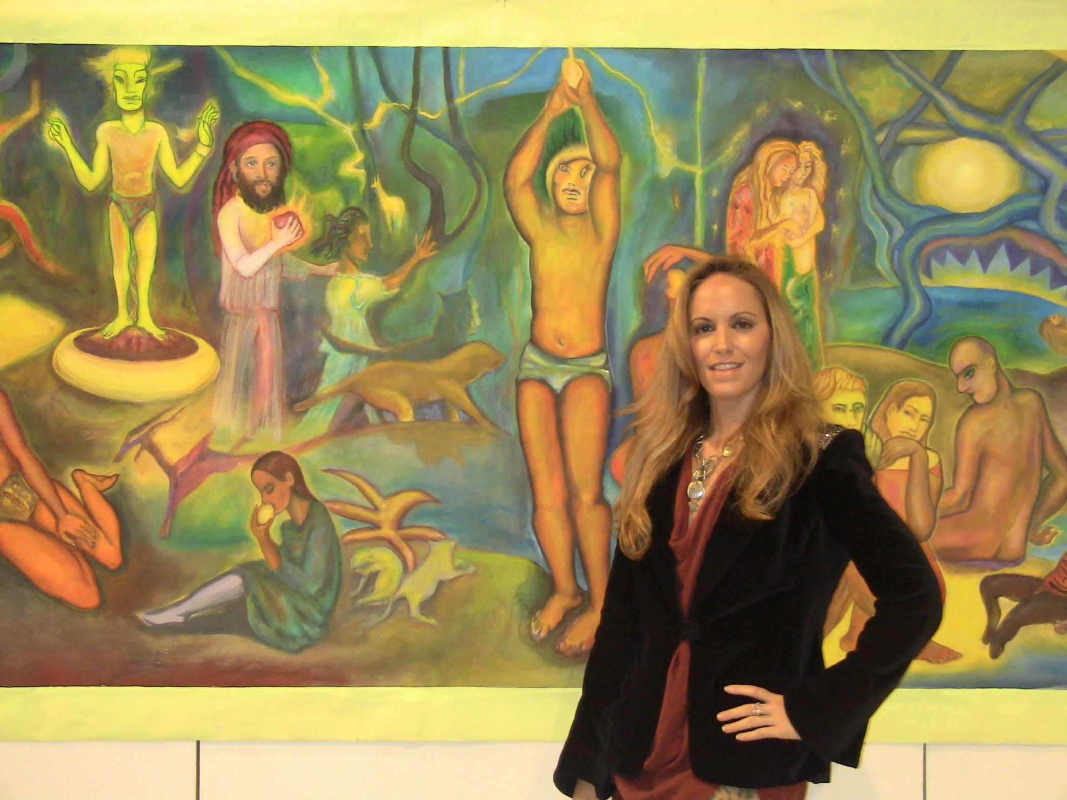 Cindy in front of Mario Torero's Art Exhibit