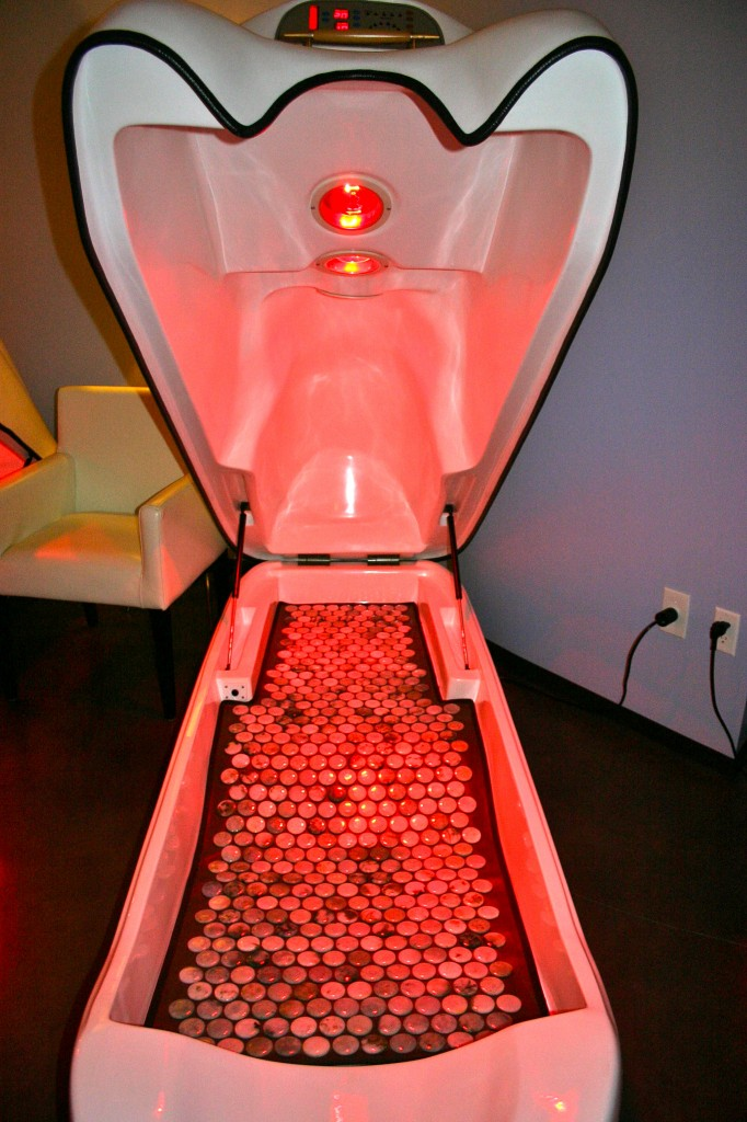 Futuristic pod-like saunas