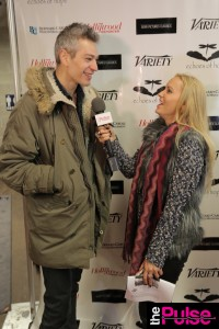 Luc Robitailles Celebrity Hockey Event with Matisyahu in Rag & Bone Leather pants and sweater, Missoni Scarf