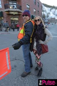 Sundance Film Festival wearing Members only Vest, Diesel Sweater, Leggings Emma Jane Boutique, Sorel Boots and Rebecca Minkoff Bag