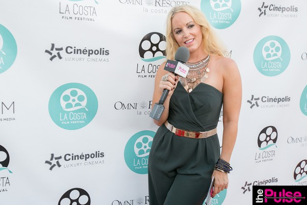La Costa Film Festival Red carpet in Forest Green Jumpsuit by Jill Stuart, belt Michael Costello, necklace Wysh Boutique.