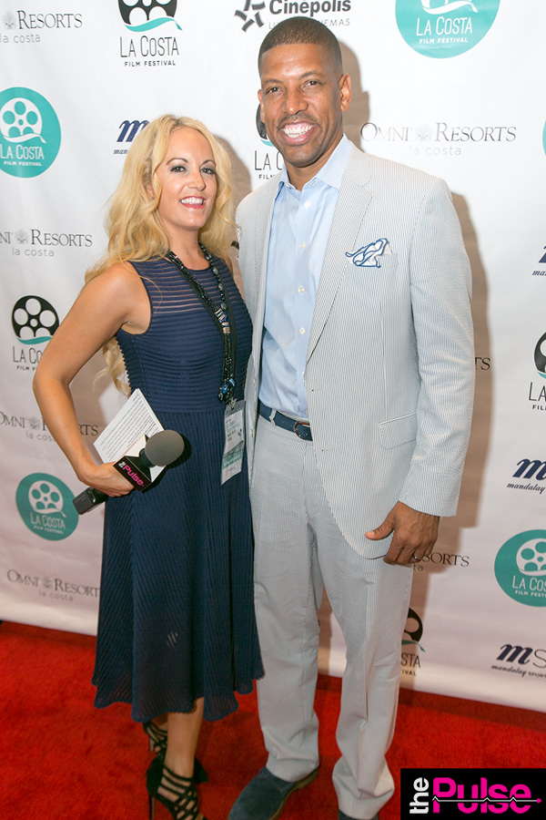 Red carpet premiere of Down In the Valley with Mayor Kevin Johnson in Rachel Zoe dress