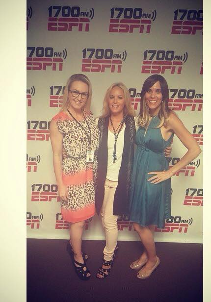 Co-hosting ESPN Radio Real Women Talk Radio in Pret A Porter Designs Vest