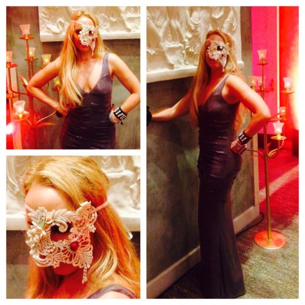 Nicole Miller NYC gown and custom mask by Shalottlilly