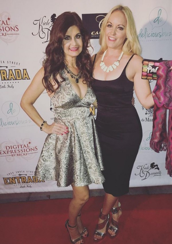 At VIP Event for Entrada in Little Italy wearing a dress by Dolce & Gabbana and shoes by Jessica Simpson 10th Anniversary Collection. White Bone necklace by Vava Vida