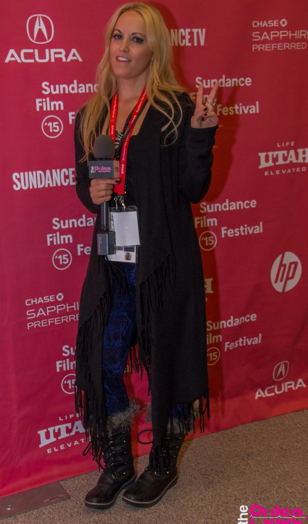 Sundance Film Festival in Acrobat Open hoodie sweater with fringe & Lysee water snake legging Amy Rae Boutique