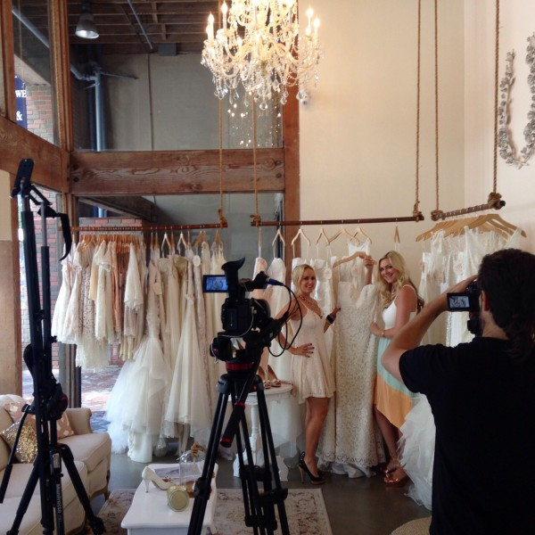 On set at Elle Bridal Boutique in dress by Lush at Wysh Boutique, necklace Wysh