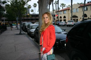 Wearing a BCBG Jacket and mirrored purse from Blended Industries Dress Mara Hoffman from Melero Boutique