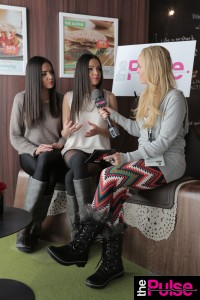 Sundance Film Festival wearing leggings from Emma Jane Boutique, Diesel Sweater, and Sorrel Boots interviewing The Baker Twins