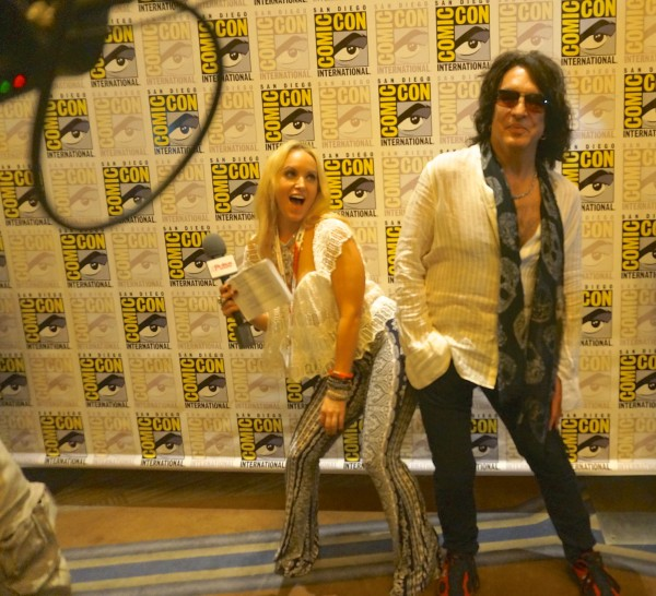 In a top, necklace, and pants by Wysh Boutique with Paul Stanley from Kiss at Comic Con
