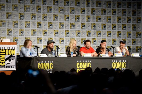 "SAN DIEGO, CA - JULY 22:  Writer/executive producer Michael Hirst, actors Travis Fimmel, Katheryn Winnick, Clive Standen, Alexander Ludwig, Gustaf Skarsgard attend the ""Vikings"" panel during Comic-Con International 2016 at San Diego Convention Center on July 22, 2016 in San Diego, California.  (Photo by Charley Gallay/Getty Images for HISTORY )"