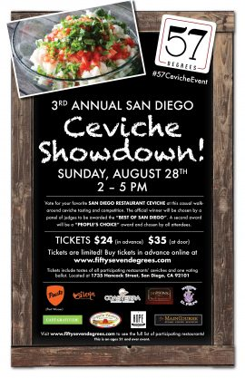 57 Degrees 2016 Ceviche Showdown Flyer with Logos
