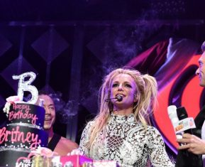 LOS ANGELES, CA - DECEMBER 02:  Singer Britney Spears (C) is presented with a birthday cake by host Ryan Seacrest onstage during 102.7 KIIS FM's Jingle Ball 2016 presented by Capital One at Staples Center on December 2, 2016 in Los Angeles, California.  (Photo by Mike Windle/Getty Images for iHeartMedia)